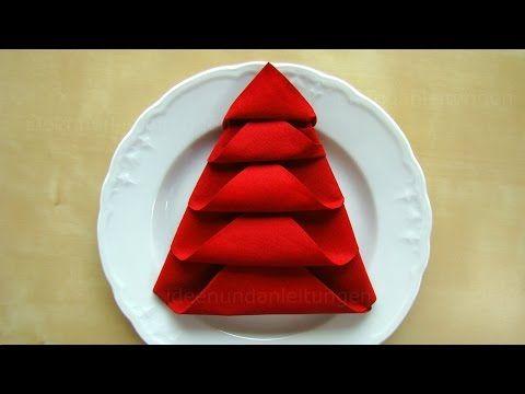 Doblar servilletas de papel: Arbol de Navidad - Decoración navideña: Doblar servilletas para mesa. - YouTube