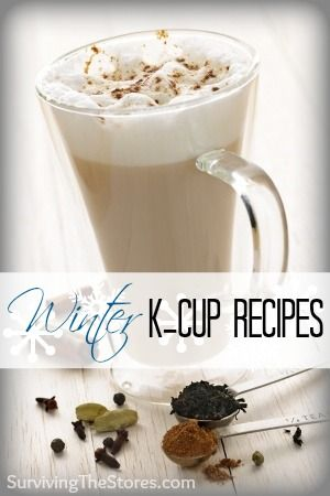 Here  is how to make all kinds of yummy winter drinks with your K-CUPS!!  Drinks like... Gingerbread Maple Cappuccino, Vanilla Eggnog Latte, Blueberry White Chocolate Mocha, Vanilla Chai Latte, Mexican Hot Cocoa, and many more can be made right from your Keurig!