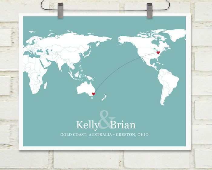 Long Distance Relationship Wedding Invitation: World Travel Map, Couples Anniversary Gift, World Map