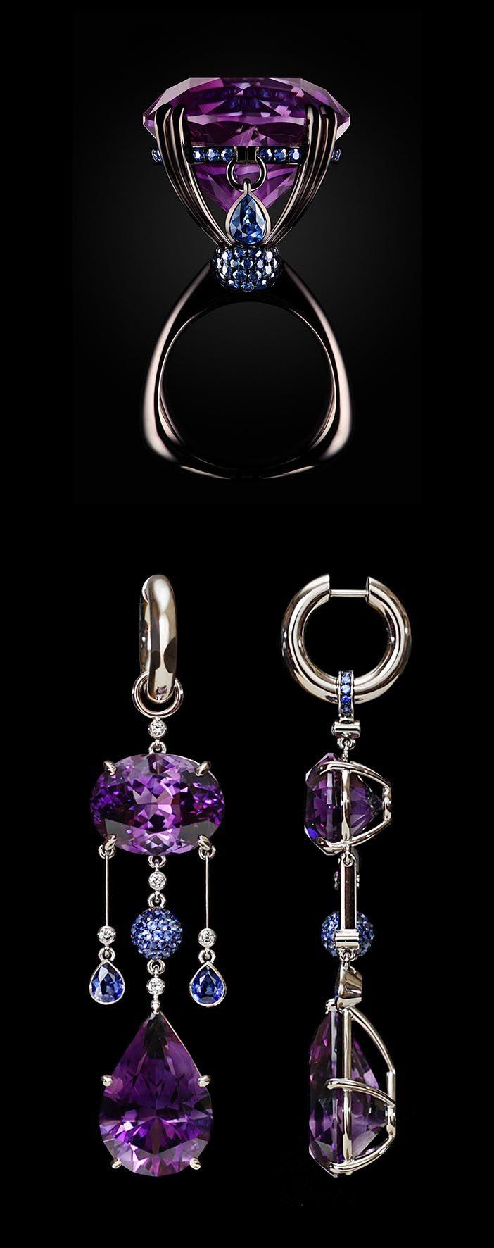 "VLAD GLYNIN jewellery - Ring and earrings set ""Dew-Iris"", 2012. White gold, amethysts, sapphires. / Кольцо и серьги ""Роса-ирис"", 2012 г. Белое золото, аметисты, сапфиры. / Anello e orecchini ""Rugiada-iris"", 2012. Oro bianco, ametiste, zaffiri."
