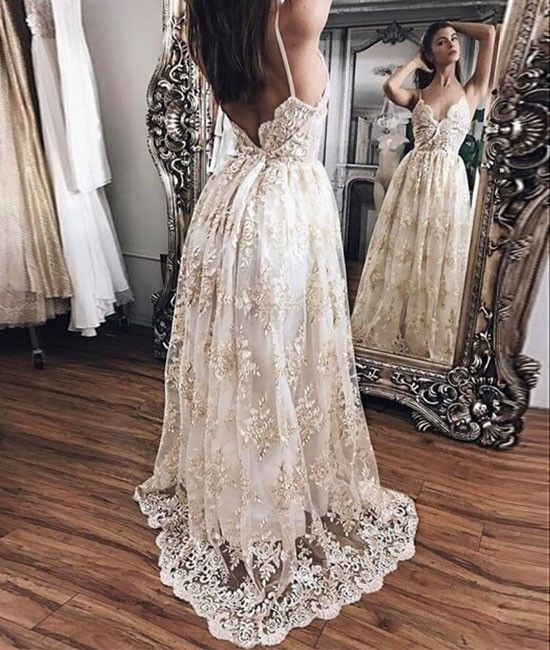 Champagne lace long prom dress, backless lace evening dress