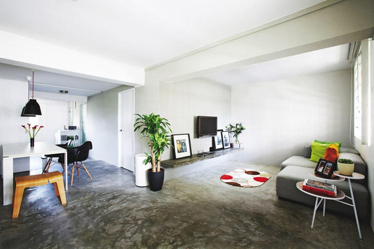 Cement Screed Flooring And White Walls Minimalistic