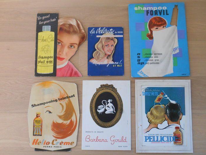 Online veilinghuis Catawiki: lot van 6 reclameborden van haarverzorgingsproducten uit 1960