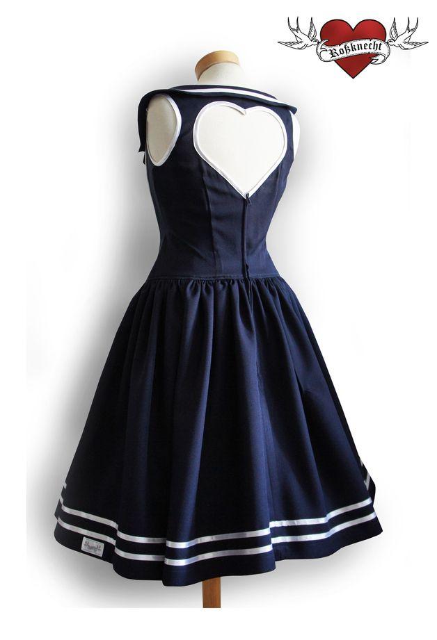 Knielange Kleider - Matrosenkleid Herzensache mit Tellerrock - ein Designerstück von Rossknecht-Modedesign bei DaWanda