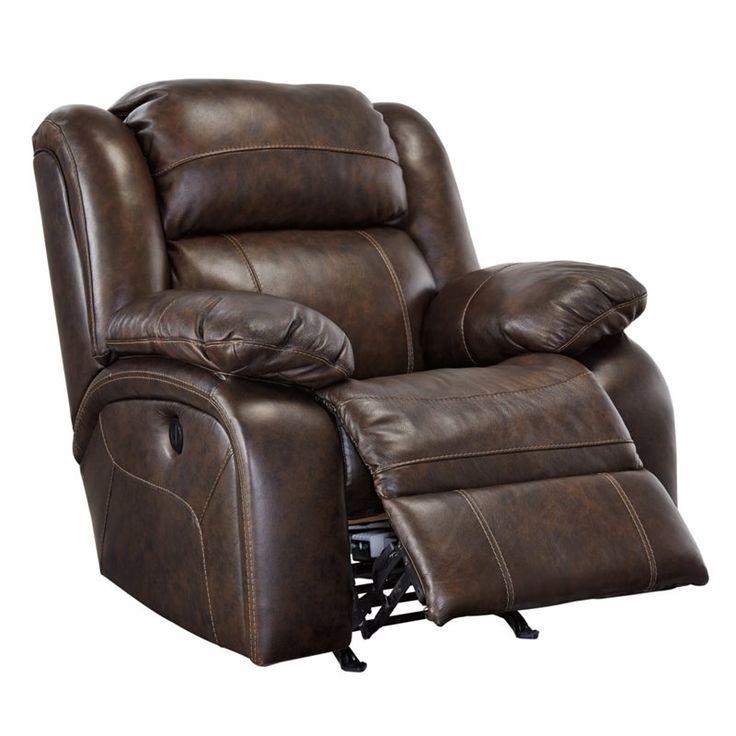 Ashley branton leather power rocker recliner in antique