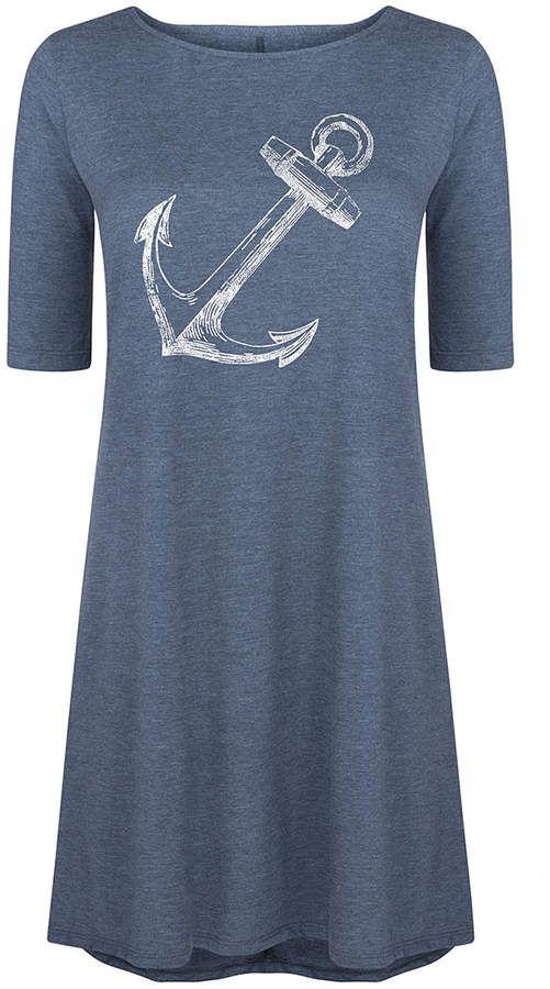 Heather Blue Anchor Sketch Three-Quarter Sleeve Dress - Women Under $30 #shopping #ad #fashion #deals