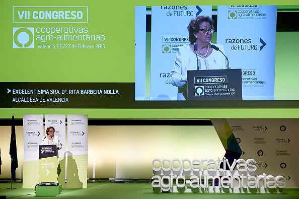 Mayoress of Valencia Rita Barbera delivers a speech during the 'VII Congreso de Cooperativismo Alimentario at Palacio de Congresos on February 27...