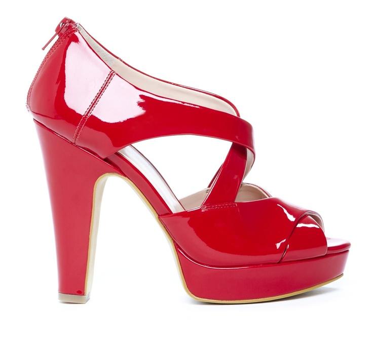 red peep-toe platform