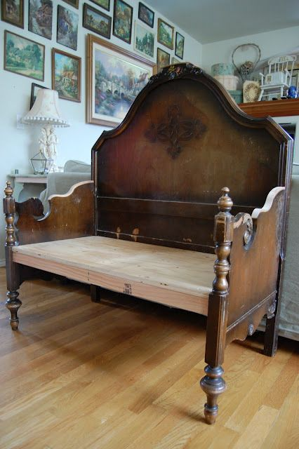 "Bench made of twin size headboard and footboard. If you found the bed at a garage sale this would be an affordable way to get that ""awesome antique bench"" look."