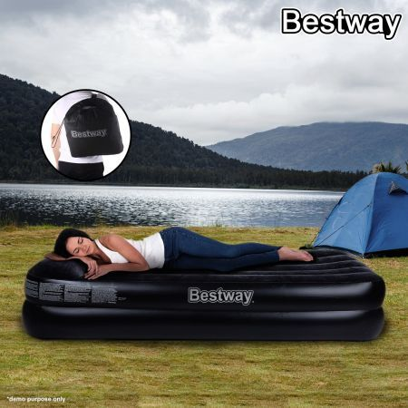 """Buy Link: http://www.crazysales.com.au/online-bestway-comfort-quest-deluxe-single-size-inflatable-mattress-air-bed-with-built-in-pillow-34657.html?aid=1021 191cm x 97cm x 46cm (75""""x 38"""" x 18"""") - This Comfort Quest Deluxe Single Size Bed is perfect for when extra sleeping space is needed. Made from sturdy pre-tested vinyl with a built-in pillow."""