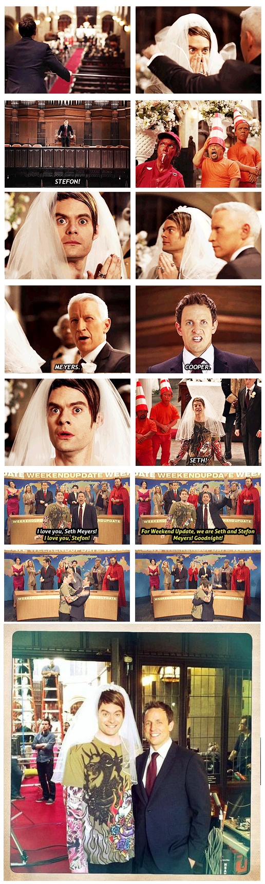 This wedding has EVERYTHING! *The greatest love story ever told* -- Seth Meyers and Stefon, #SNL #Epic #Bill #Hader
