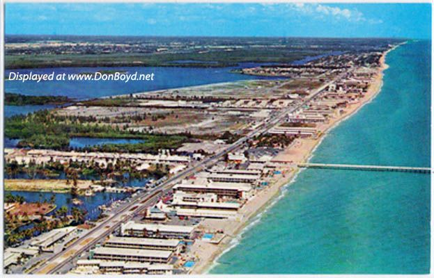 1950s aerial view looking north at sunny isles with the for Miami fishing piers