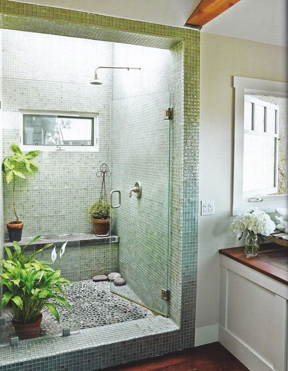 apartment therapy: shower, skylight, plants: