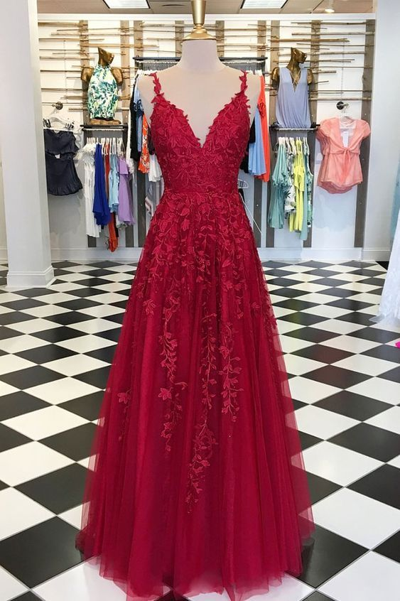 » Gorgeous A Line V Neck Spaghetti Straps Open Back Dark Red Long Prom Dresses with Appliques, Formal Elegant Evening Party Dresses PD0829003