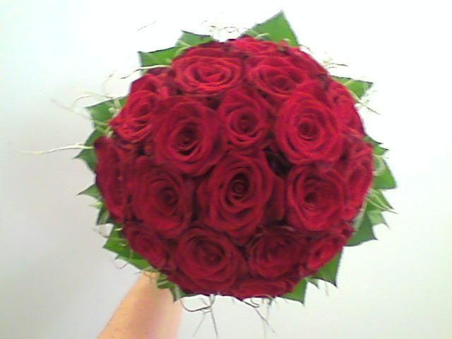 bruidsboeket - rode rozen falenopsis boechout