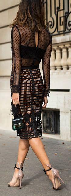Chic look | Flattering sheer black dress with super high heels