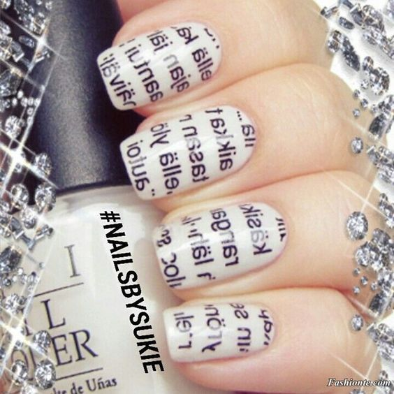 How to Make Newspaper Nail Art..http://startvirallife.com/how-to-make-newspaper-nails/