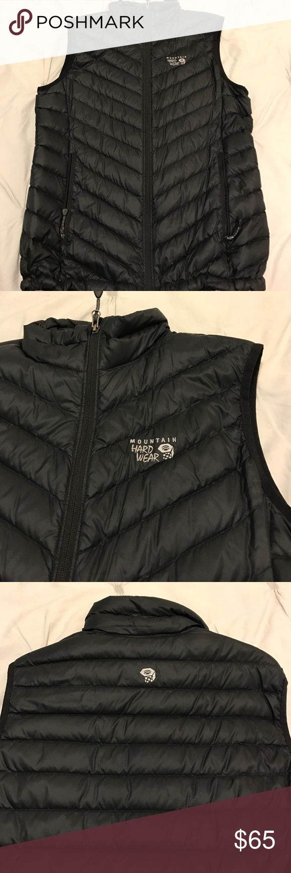 Mountain Hard Ware Puffy Vest - BLK Mountain Hardware Down Puffy Vest • QShield 800 Down • Size: Large • Color: Black • 90% Goose Down Feather Puffy • Great Condition Mountain Hard Wear Jackets & Coats Puffers