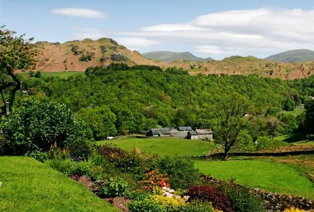 Lake District mountains from luxury cottage at Skelwith Bridge, Cumbria