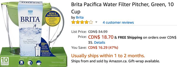 Amazon Canada Deals: Save 47% Brita Pacifica Water Filter Pitcher Green 10 Cup 39% on LEGO Juniors Cinderella... http://www.lavahotdeals.com/ca/cheap/amazon-canada-deals-save-47-brita-pacifica-water/197253?utm_source=pinterest&utm_medium=rss&utm_campaign=at_lavahotdeals