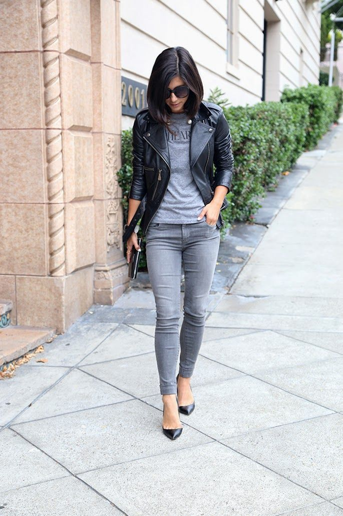 This Time Tomorrow: Alexander McQueen Leather Jacket + J Brand grey jeans http://FashionCognoscente.blogspot.com