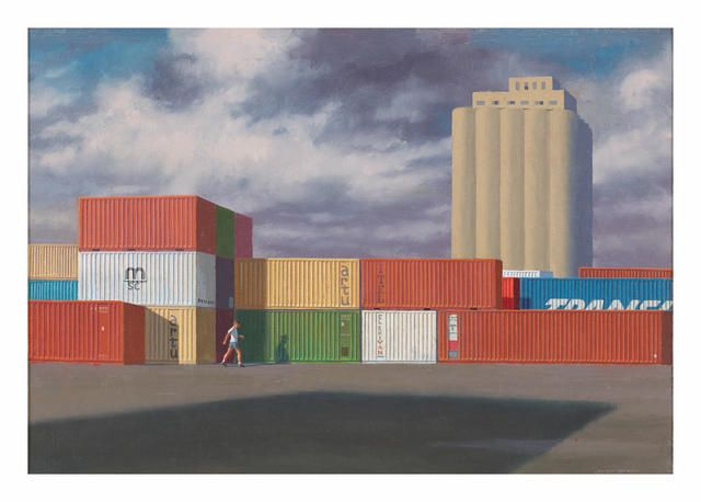 Jeffrey Smart (1921-2013) Second Study for Containers with Storm Clouds, 1990