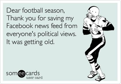 Funny Sports Ecard: Dear football season, Thank you for saving my Facebook news feed from everyone's political views. It was getting old.