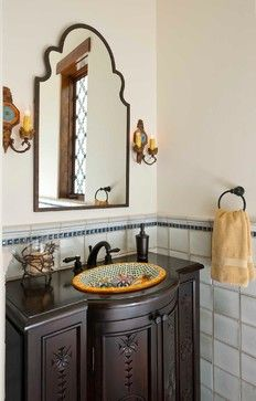 Classically Spanish - mediterranean - Powder Room - Dallas - Astleford Interiors, Inc.