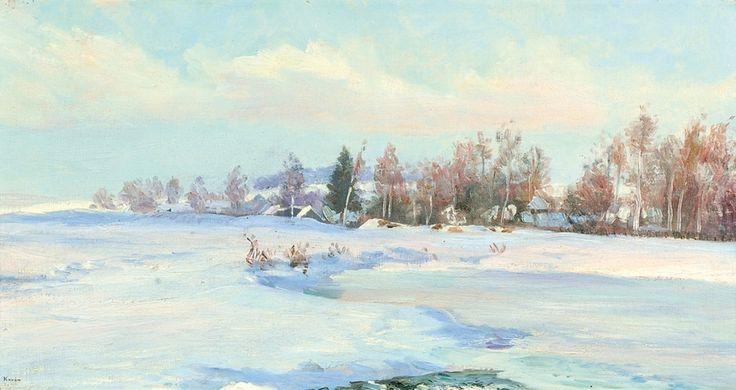 Frantisek Kavan (1866-1941), Derrière le Village - 1920