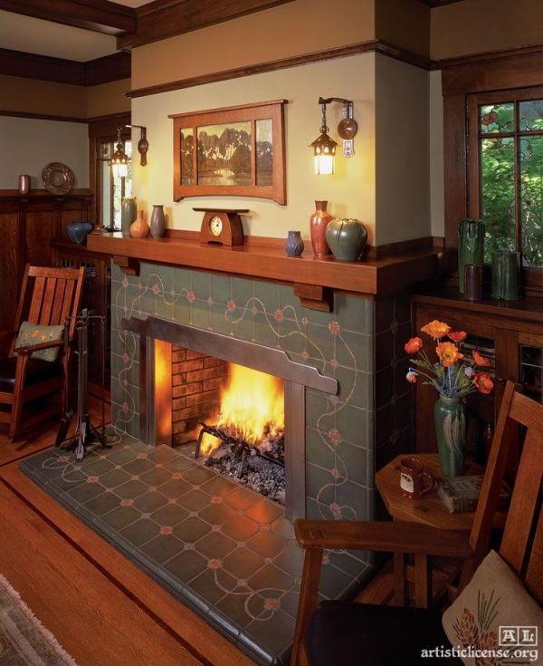 Arts & Crafts Bungalow | Craftsman | Segers House (1915), Los Altos, California: Paul Duchscherer designed the 2003 restoration and remodel of this imposing Craftsman style home. The fireplace surround and hearth, with its inlaid mosaic tile, was adapted from a Greene and Greene design | leaded art glass windows by Theodore Ellison |  Handcrafted tiles by Diane Winters | pillows by Dianne Ayres of Arts and Period Textiles by niedn