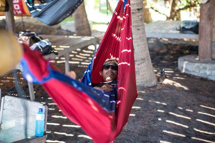 "Ticket to the Moon was providing perfect views of the surfing competition in Bali, from their ""hammock garden"" and providing free hammocks for all contestants. A great, comfortable way to spend the day poolside at Hotel Komune and witness the best surfing Indonesia has to offer. Pic © Mick Curley Photography"
