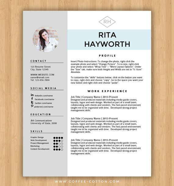 resume template cv template free cover letter for ms word instant digital download - Free Resume Templates In Word