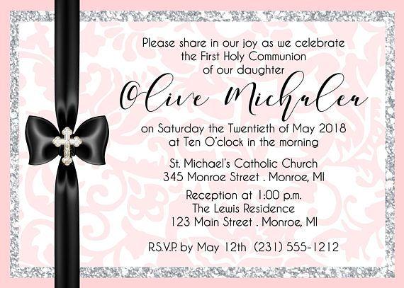Modern First Communion Invitation Girl First Communion
