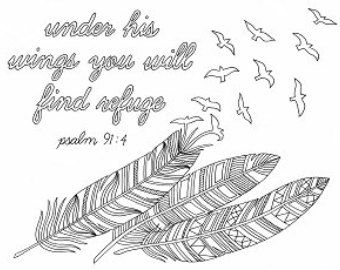 items similar to feathers coloring page cover you with feathers under his wings you will find refuge psalm bible verse scripture biblical on etsy