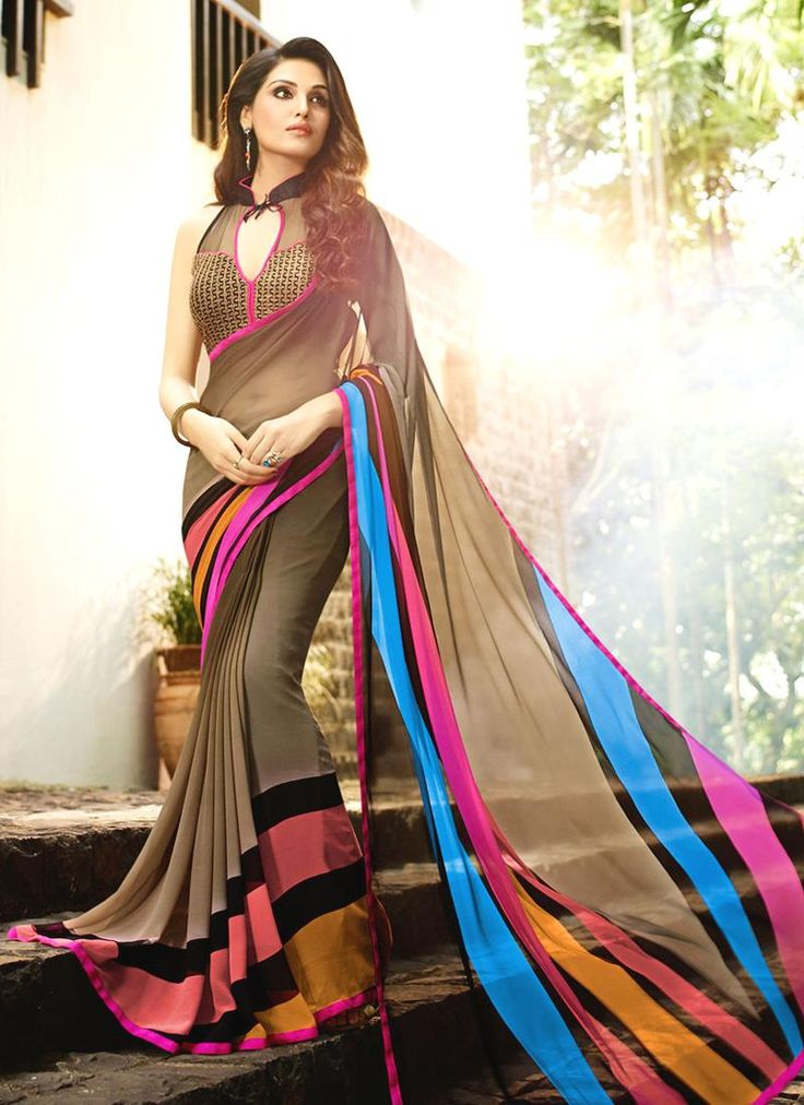 Online shopping of saree, latest saree designs, saree collection online. Grab this exquisite multi colour designer saree for festival and party.