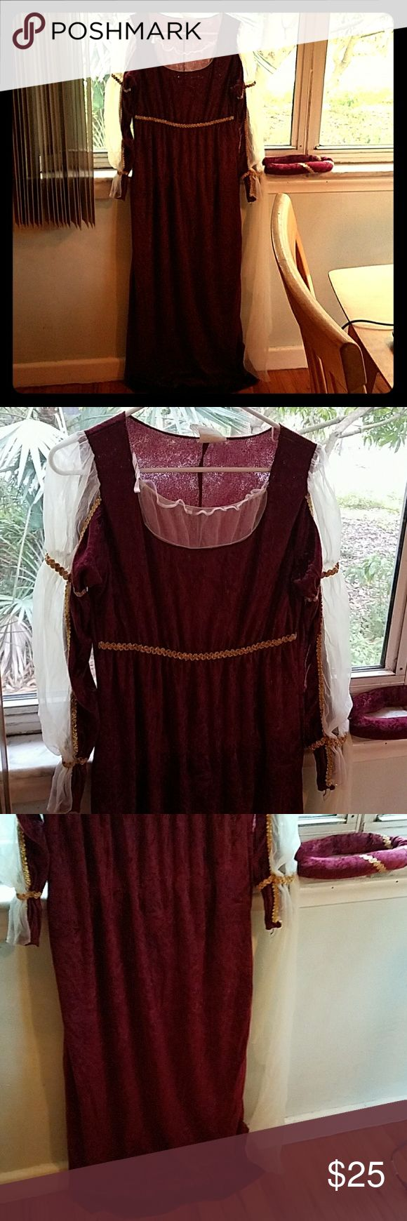 Renaissance Dress with Cloth Crown Tiara Veil Burgundy with gold trim with white sheer arms and neckline. Same material used to make the headdress. Only worn once. Perfect for Renaissance Fairs or Halloween! California Costume Collections Dresses Long Sleeve