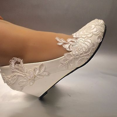 White light ivory lace Wedding shoes flat low high heel wedges bridal size  5-12 958567091777
