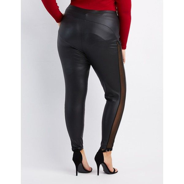 Charlotte Russe Mesh-Trim Liquid Leggings ($18) ❤ liked on Polyvore featuring plus size women's fashion, plus size clothing, plus size pants, plus size leggings, black, mesh-panel leggings, leather panel leggings, wet look leggings, liquid leggings and plus size leather pants