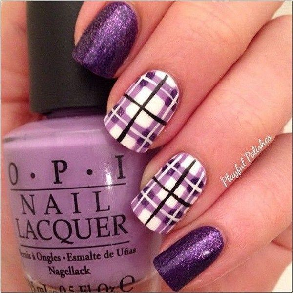 Purple Plaid Nail Design.