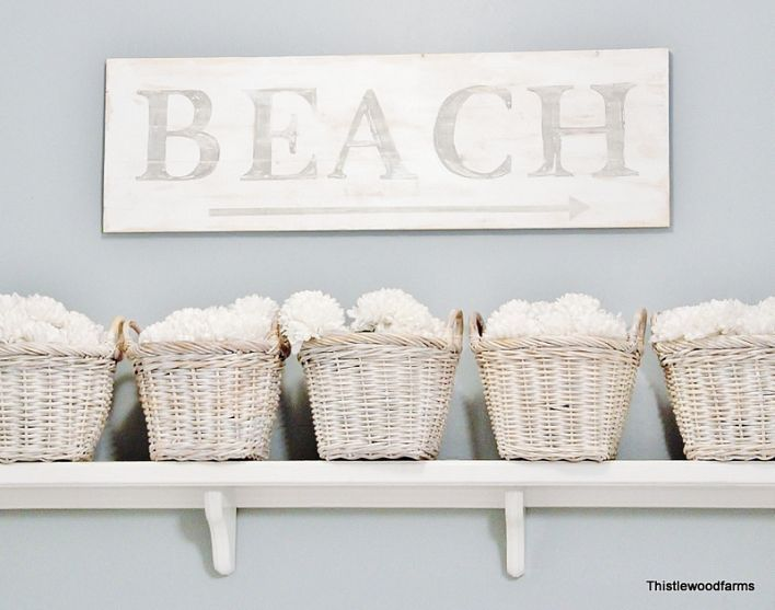 paint, stencil and distress a BEACH sign ... add a simple shelf and painted baskets for storage ..can also use this idea to  fix up the closets in your beach rental property.: Painted Wood, Decor, Beaches, Beach House, Beach Bathroom, Beach Signs, Bathroom Ideas, Beachhouse