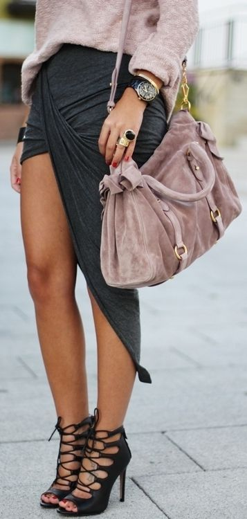 #street #style / wrap skirt + pink knit