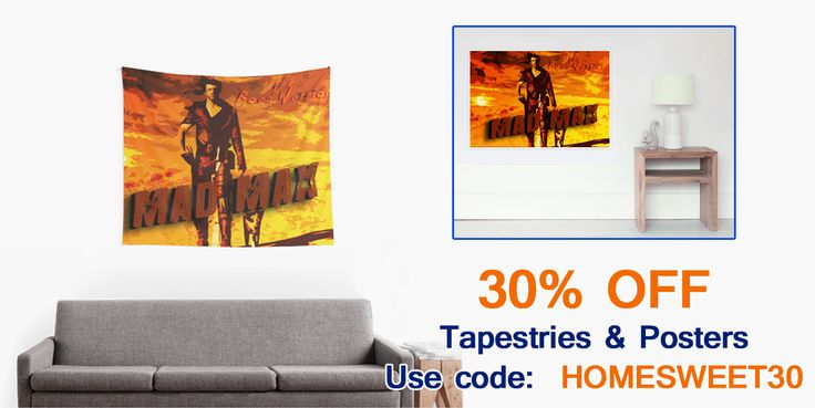 30% OFF Mad Max Tapestries & Posters. #discount #save #sales #discountgifts #homedecor #movieposter #madmaxposter #redbubble #madmaxtapestry #walltapestry #movietapestry #cinema #cinemagifts #homegifts #mancave #giftsforhim #badass