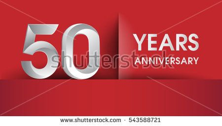 50 years Anniversary celebration logo, flat design isolated on red background, vector elements for banner, invitation card and birthday party.