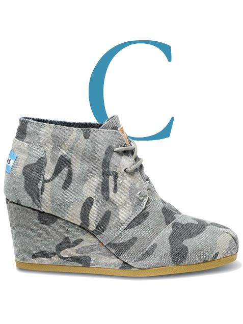 canvas camo wedges Might need a new pair of cute Camo Toms! Would look great with my Fall CAbi