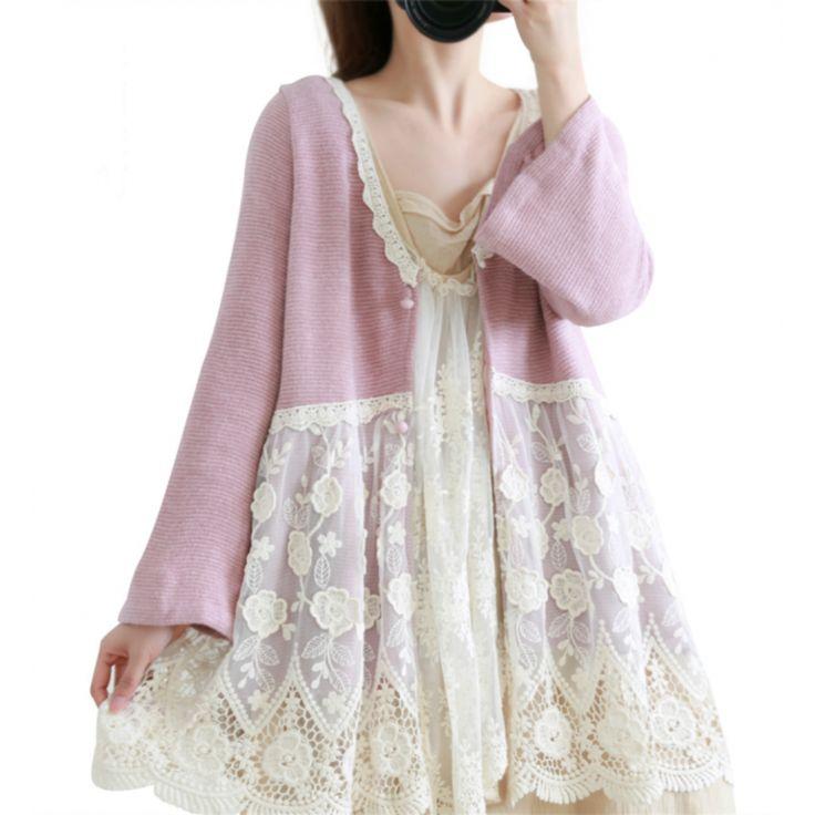 Magnifique cardigan vieux rose Dentelle Doublé création Mori girls Japon TU