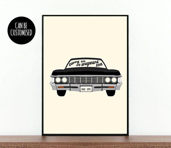 Supernatural TV show Impala Carry on My wayward son Dean Sam Winchester Supernatural car Supernatural poster custom Supernatural