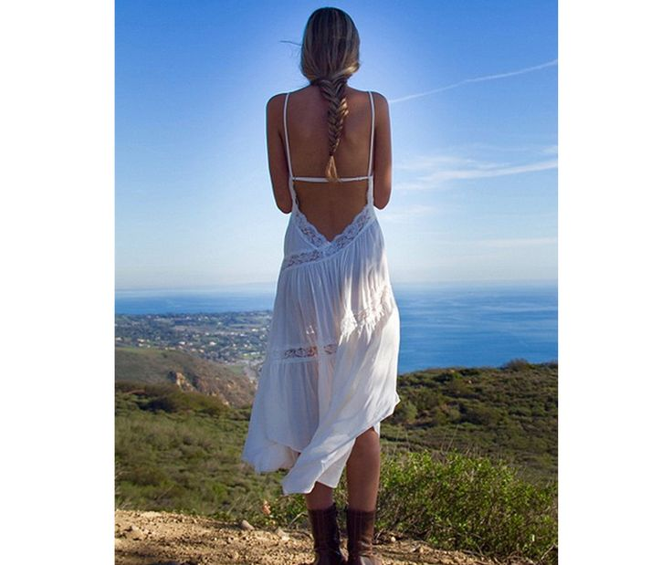 Beach dress sexy dresses boho bohemian people dress summer backless white lace women party hippie chic vestidos mujer 2017