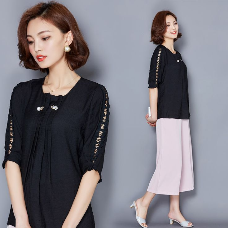 New Women Casual Basic Summer Lace Chiffon Blouse Top Shirt Fold Hollow out Solid Half sleeve Loose OL Work Wear Plus Size