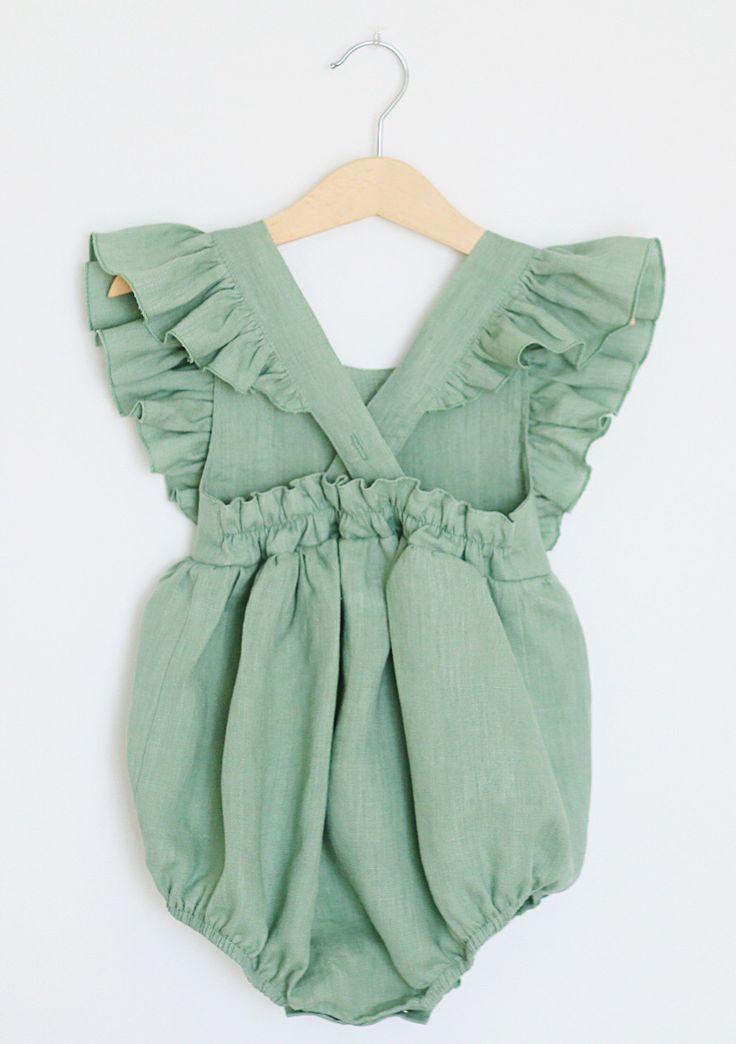 50d8fcc821af Handmade Vintage Style Flutter Sleeve Linen Baby Romper ...