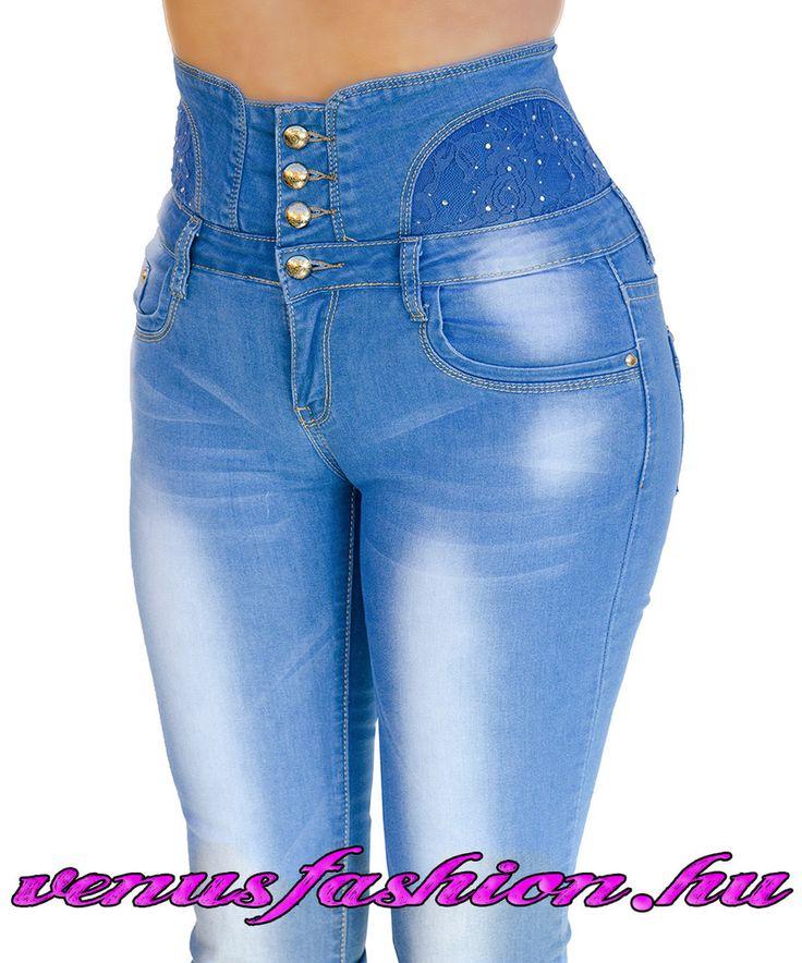 Magas derekú farmer csipke betéttel XS S M L XL - Venus fashion női ruha webáruház